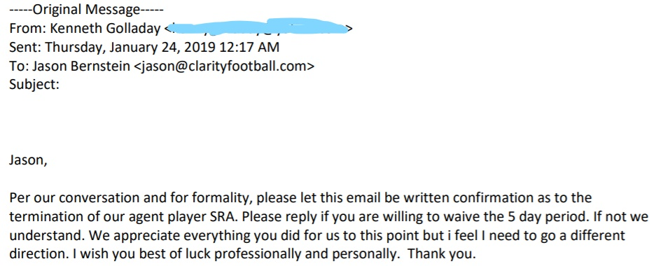 Golladay email