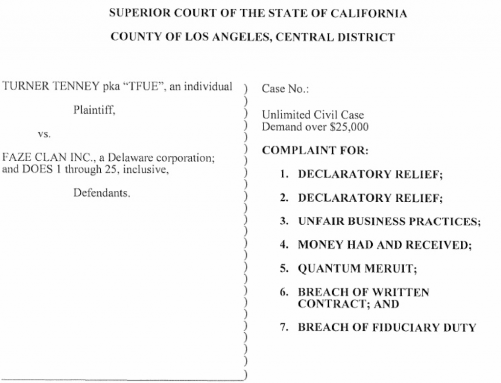 Tenney v Faze Clan Lawsuit Breach Of Contract